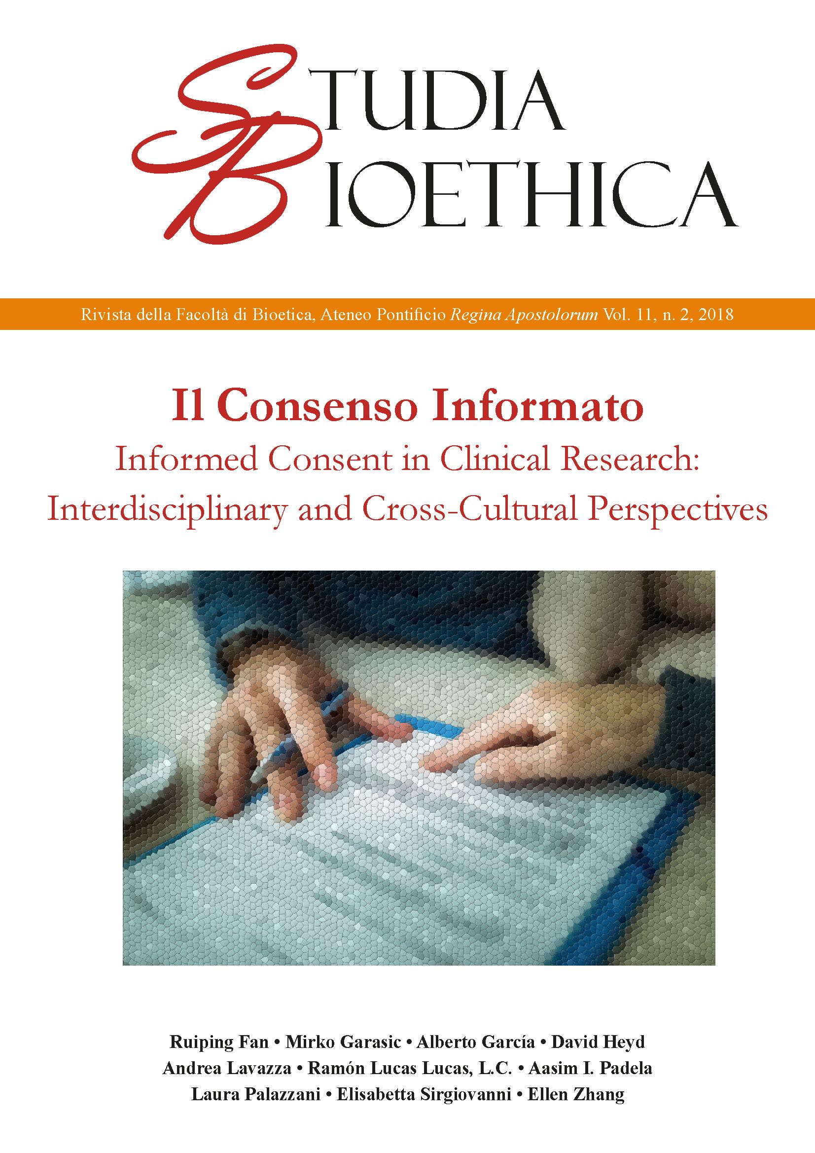 Studia Bioethica, numero 2 del 2018, sul Consenso Informato (Informed Consent)